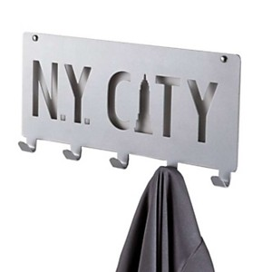 'N.Y City' 5 crochets gris à fixer