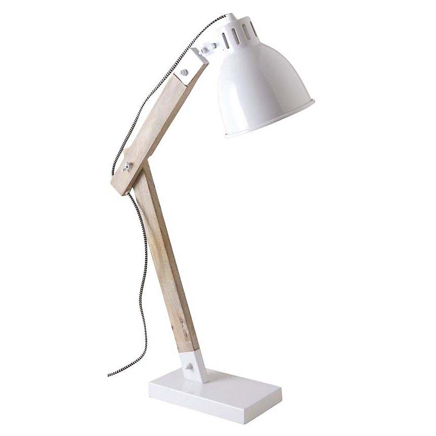 Lampe de bureau en métal blanc et bois