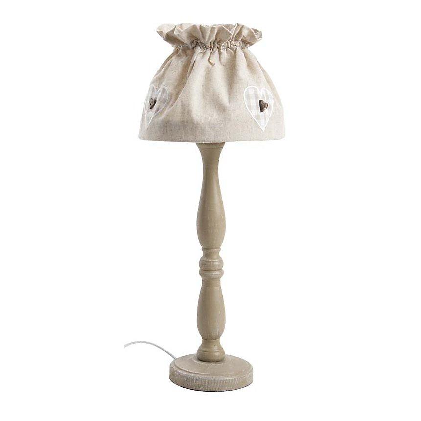 Lampe à poser en bois et coton écru