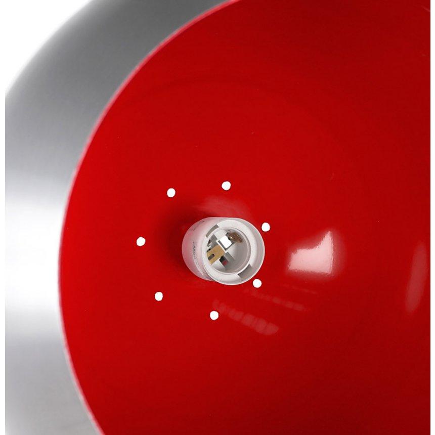 Lampe à suspendre rétro avec extérieur en Aluminium brossé et intérieur Rouge