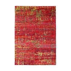 Tapis en soie de Sari noué main rouge Na