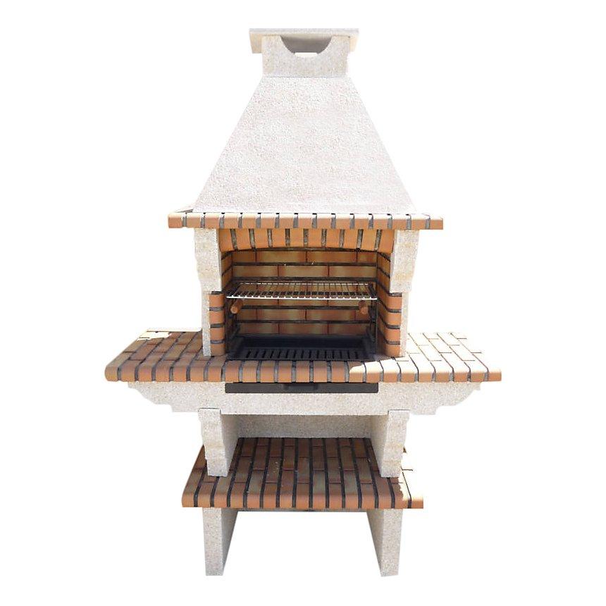 barbecue en pierre reconstitu e et brique avec chemin e et. Black Bedroom Furniture Sets. Home Design Ideas