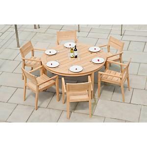 Ensemble table ronde et 6 fauteuils en r