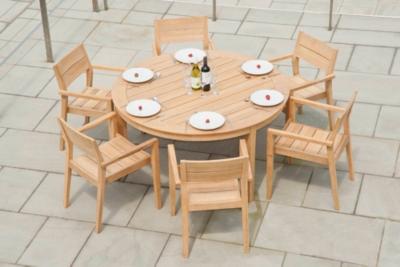 Ensemble table ronde et 6 fauteuils en roble FSC Tivoli