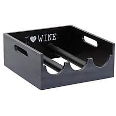 Porte bouteilles en bois I love wine