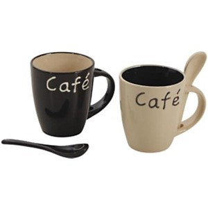 Lot de 2 mugs à café en grès