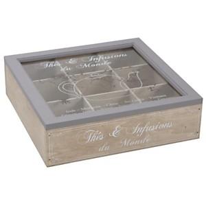Boîte à thé en bois compartimentée