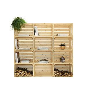 Bibliothèque en bois naturel brut 12 niches