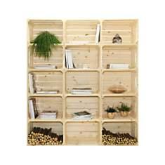Bibliothèque en bois naturel brut 15 nic