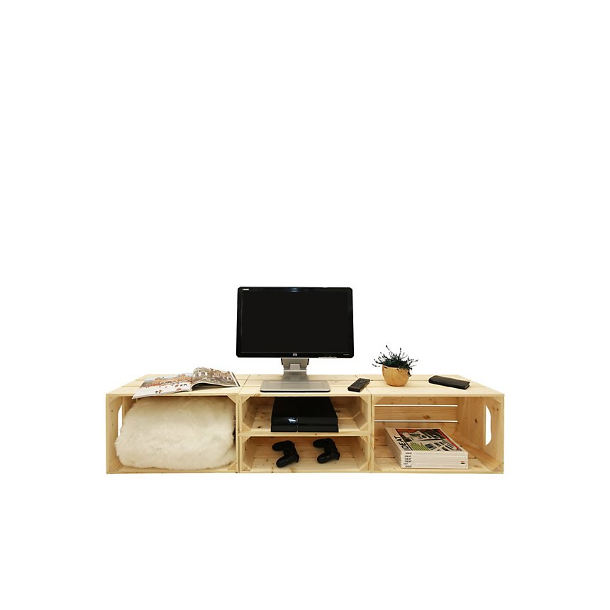 Meuble TV modulable 4 niches de rangement