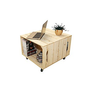 Table basse bois 2 niches de rangement ouvert