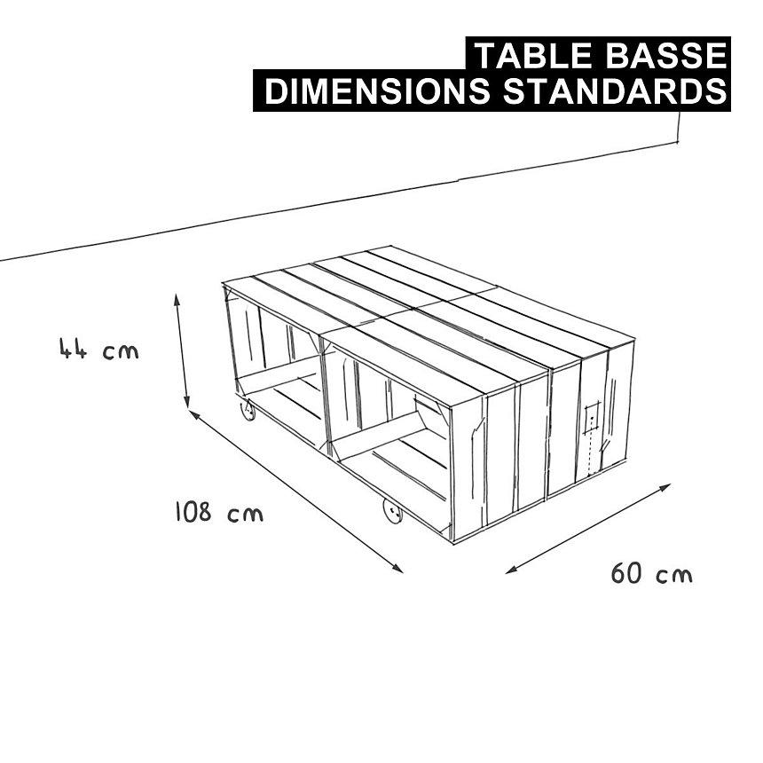 Table basse bois 4 niches de rangement ouvert