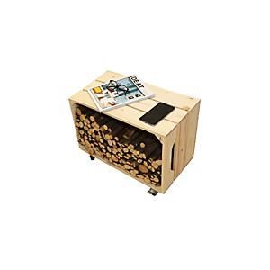 Table d'appoint une caisse en bois brut