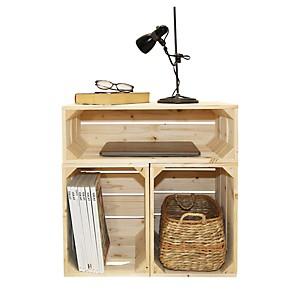 Table de chevet bois naturel avec 3 nich