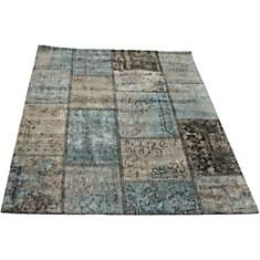 Tapis patchwork vintage bleu pétrole Top