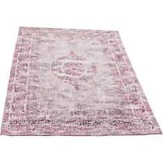 Tapis style oriental en coton rose Subli