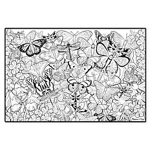 Grande affiche à colorier papillons