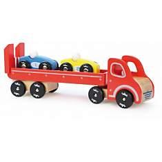 Semi-remorque et deux voitures