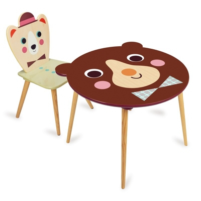 Table Ours Brun et Chaise Ours Chapeau Ingela
