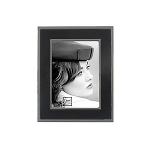 Cadre strié noir et argent 15x20