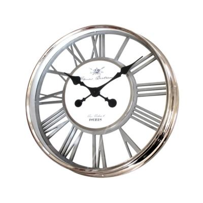 Horloge chrome ajourée noir 56cm