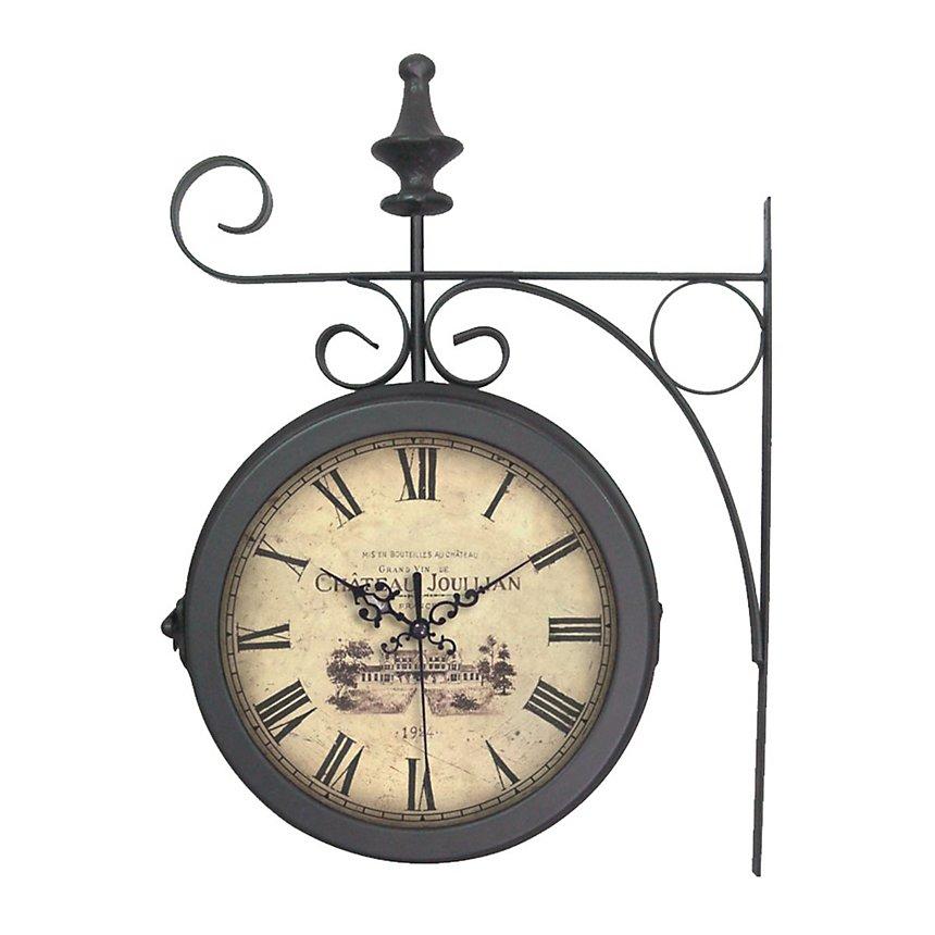 Horloge Gare métal noir