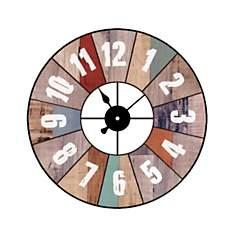 Horloge métal effet bois coloré