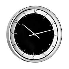 Horloge noire et blanche chrome 30cm