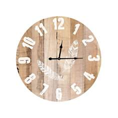 Horloge Plumes motif bois 58cm