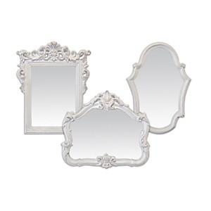 Lot de 3 miroirs baroques blancs