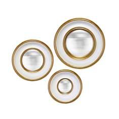 Lot de 3 miroirs convexes blanc et or