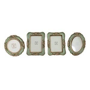 Lot de 4 mini cadres vert pale et or