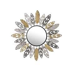 Miroir Plumes  doré argent et gris