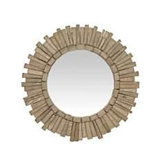 Miroir rond en bois naturel 45cm