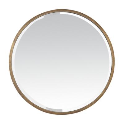 Miroir rond métal doré
