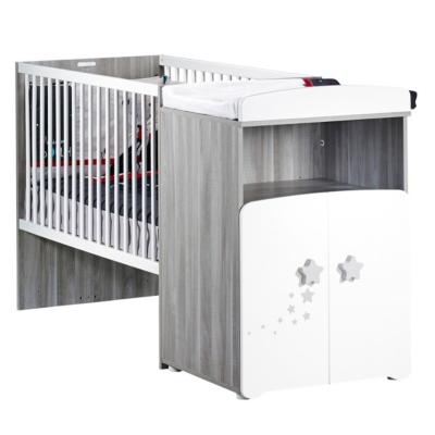 Lit bébé combiné évolutif  120x60 en 90x190 sérigraphié gris fumé Nao