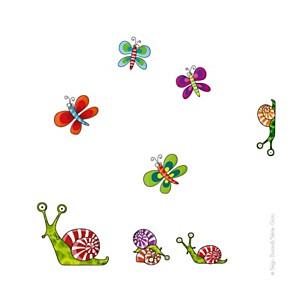 Sticker papillons et escargots