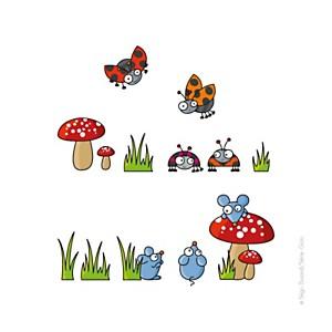 Sticker souris et coccinelles