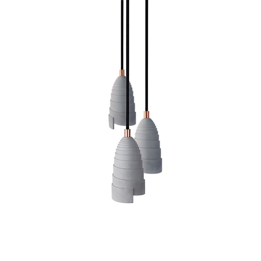 Lot de 3 Lampes Flanelle à suspendre en béton