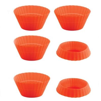 6 Mini-moules à cupcakes en silicone orange
