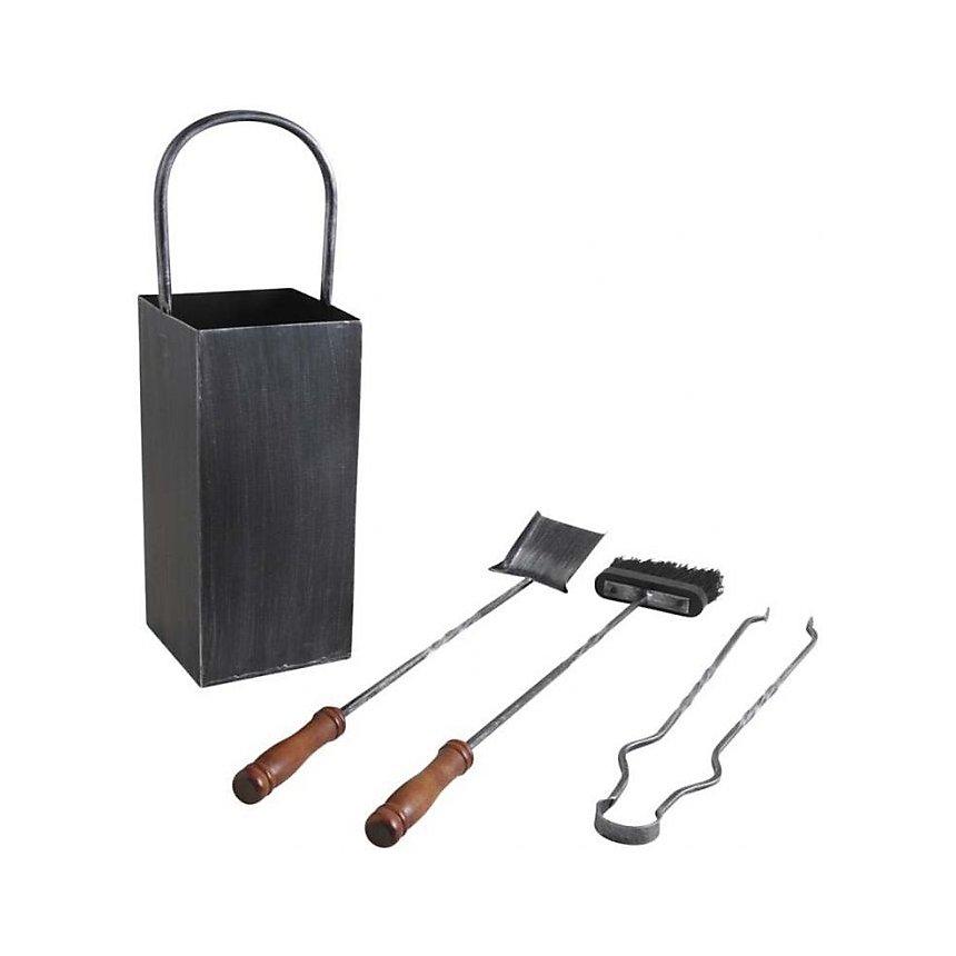 Serviteur de cheminée en fer forgé 3 accessoires