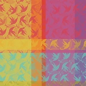 Lot de 4 serviettes de table Mille  Colibris GARNIER THIEBAUT
