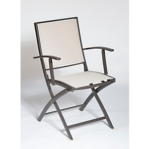Lot de 2 fauteuils pliants KENEAH  marron/lin