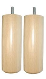 Jeu de 2 pieds cylindres bois clair, 15  cm