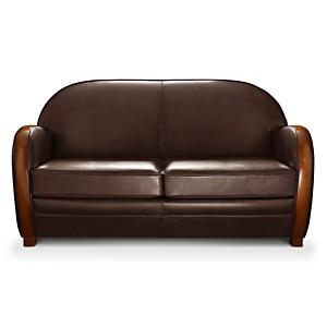 Canapé Cuir Avec Boiserie Eugénie - Sofa en cuir