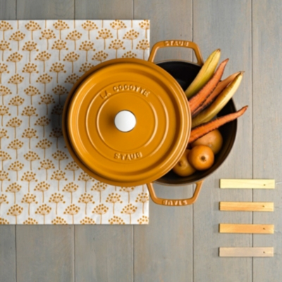 Cocotte  ronde STAUB 28 cm moutarde