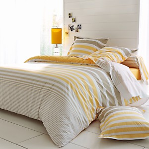 Drap housse percale Stripe Narcisse  TRADILINGE