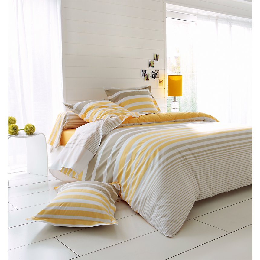 Taie d'oreiller percale Stripe Narcisse  TRADILINGE