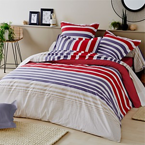 Drap housse percale Stripe TRADILINGE,  Pacific