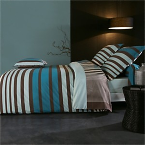 Parure de lit percale Stripe Bleu  TRADI